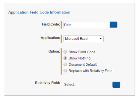 Processing and Production - Field Codes Dialog Box